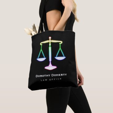 Lawyer Themed Colorful Glow Scales of Justice | Lawyer Tote Bag
