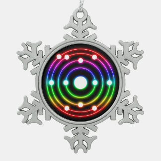 Colorful Glow Sodium Snowflake Pewter Christmas Ornament