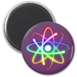 Colorful Glowing Atom 2 Inch Round Magnet