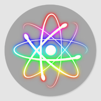 Colorful Glowing Atom Classic Round Sticker