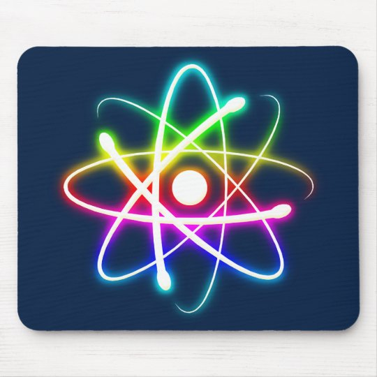 Colorful Glowing Atom - dark blue mousepad