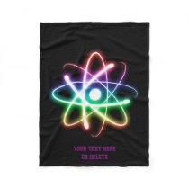 Colorful Glowing Atom | Geek Gifts Fleece Blanket