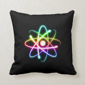 Colorful Glowing Atom | Geek Gifts Throw Pillow