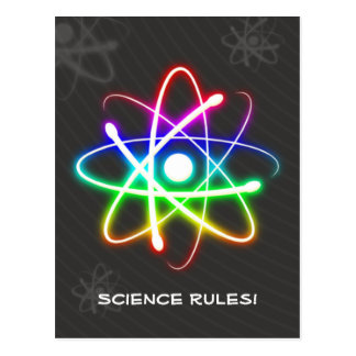 Colorful Glowing Atom - Greetings Postcard