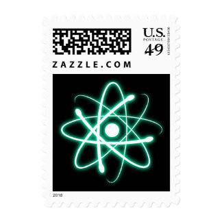 Colorful Glowing Atom - Postage