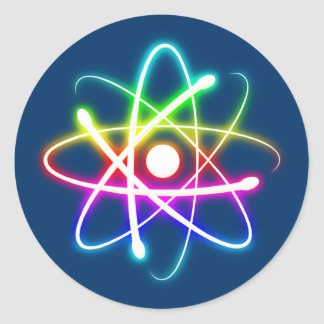 Colorful Glowing Atom - sky blue sticker
