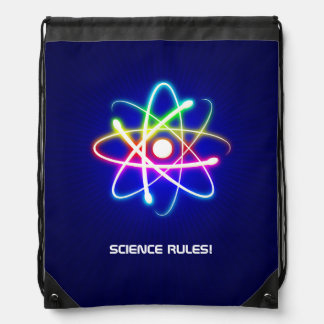 Colorful Glowing Atom Symbol Drawstring Backpack
