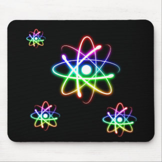 Colorful Glowing Atoms - mousepad