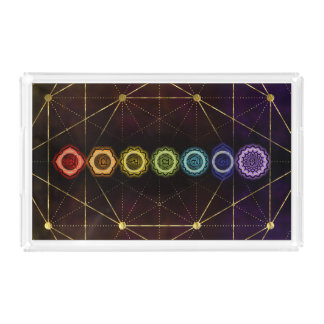 Colorful Glowing  Chakras Acrylic Tray