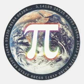 Colorful Glowing Pi   Celebrate Math Classic Round Sticker