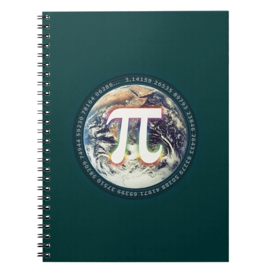 Colorful Glowing Pi Number on Earth Spiral Notebook