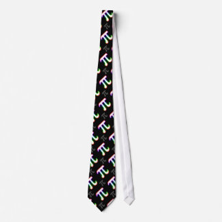 Colorful Glowing Pi Pattern | Black Geek Gifts Neck Tie