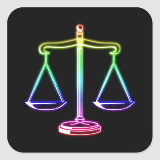 Colorful Glowing Scales of Justice | Law Square Sticker