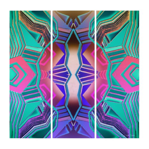 Colorful Glowing Symmetrical Triptych