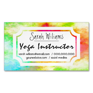 Colorful glowing watercolor Yoga Instructor Magnetic Business Card
