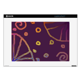 Colorful Glyphs on Maroon LapTop Skin