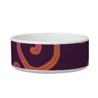Colorful Glyphs on Maroon Pet Bowl