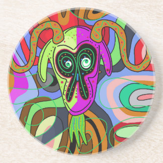 Colorful goat drink coaster