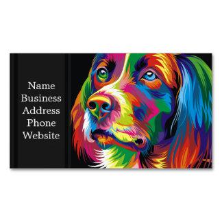 Colorful golden retriever business card magnet