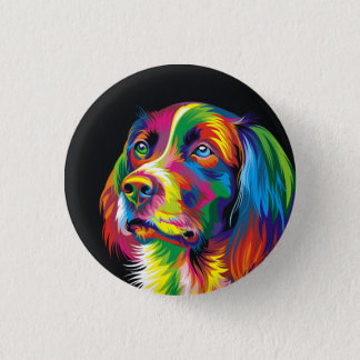 Colorful golden retriever button