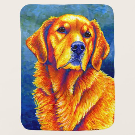 Colorful Golden Retriever Dog Baby Blanket