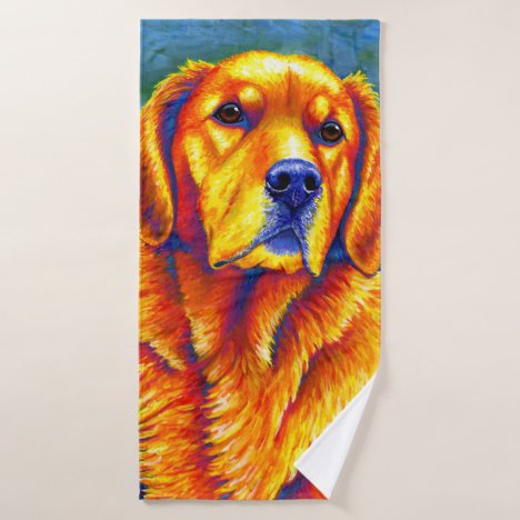 Colorful Golden Retriever Dog Bath Towel Set