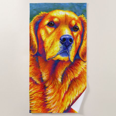 Colorful Golden Retriever Dog Beach Towel