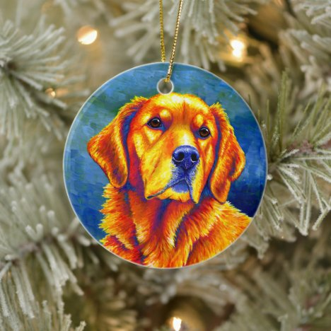 Colorful Golden Retriever Dog Ceramic Ornament