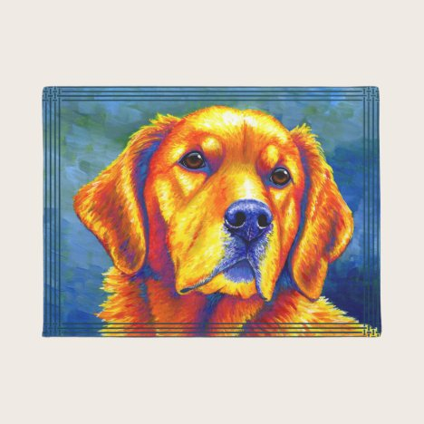 Colorful Golden Retriever Dog Door Mat