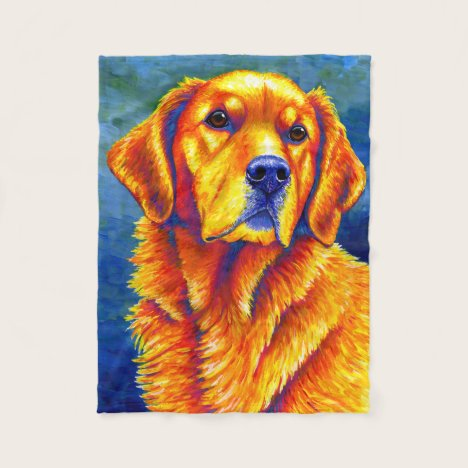 Colorful Golden Retriever Dog Fleece Blanket