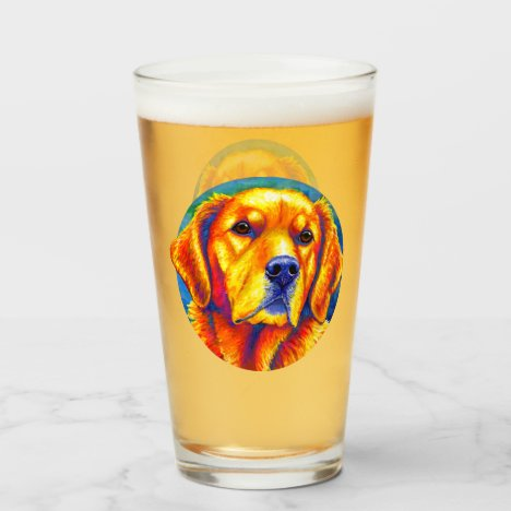 Colorful Golden Retriever Dog Glass Cup