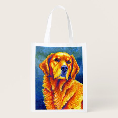 Colorful Golden Retriever Dog Grocery Bag