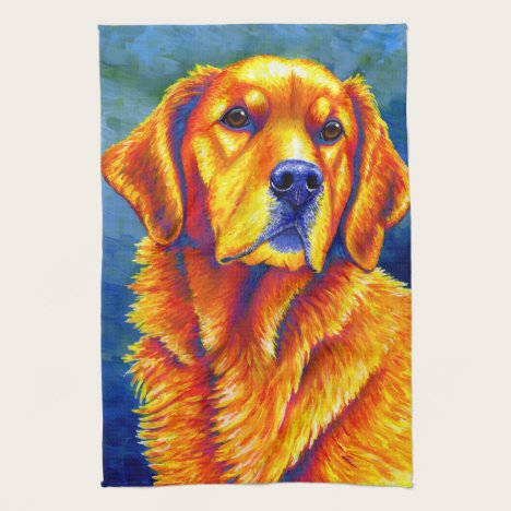 Colorful Golden Retriever Dog Kitchen Towels