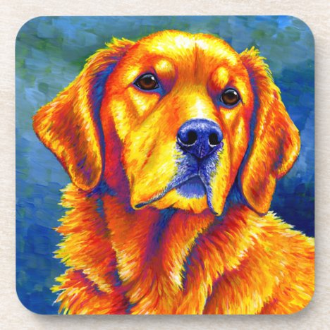 Colorful Golden Retriever Dog Plastic Coasters