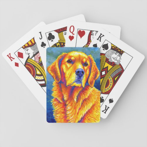 Colorful Golden Retriever Dog Playing Cards