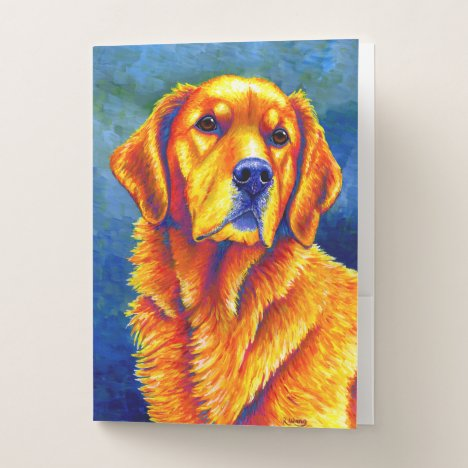 Colorful Golden Retriever Dog Pocket Folder