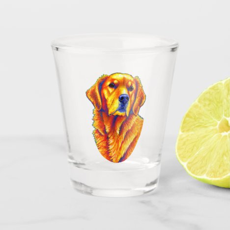 Colorful Golden Retriever Dog Shot Glass