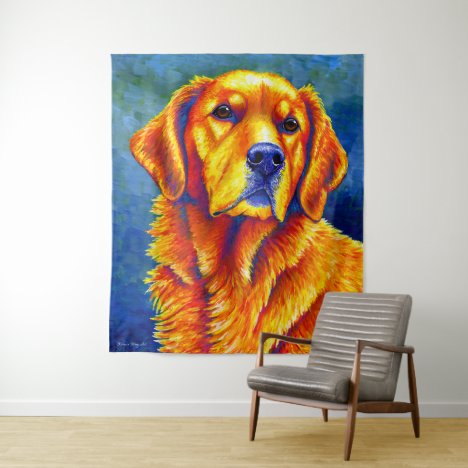 Colorful Golden Retriever Dog Tapestry