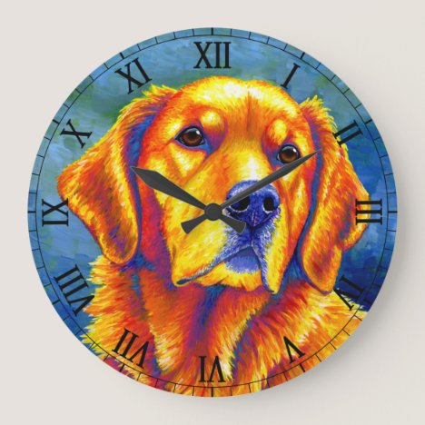 Colorful Golden Retriever Dog Wall Clock
