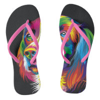 Colorful golden retriever flip flops