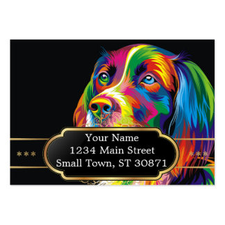 Colorful golden retriever large business card