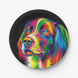 Colorful golden retriever paper plate