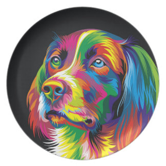 Colorful golden retriever plate