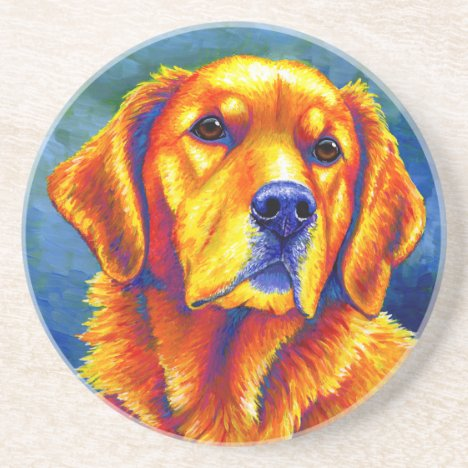 Colorful Golden Retriever Round Stone Coaster
