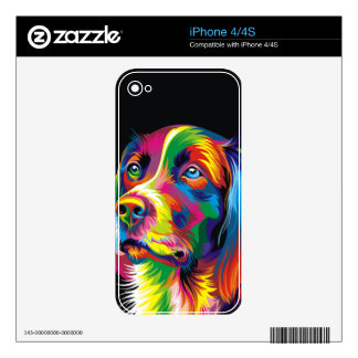 Colorful golden retriever skin for iPhone 4