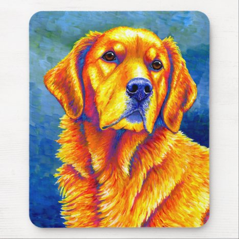 Colorful Golden Retriever Vertical Mouse Pad