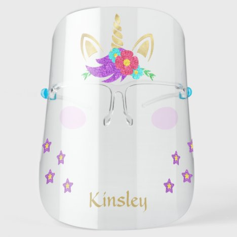Colorful Golden Unicorn Personalized Face Shield