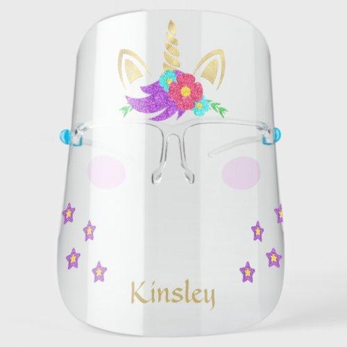 Colorful Golden Unicorn Personalized Face Shield