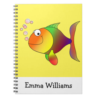 Colorful Goldfish Cartoon with Name Notebook