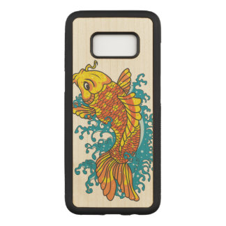 Colorful Goldfish Koi Carved Samsung Galaxy S8 Case